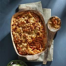 Gegratineerde couscous met ham en tomaat