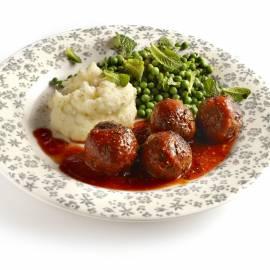Gehaktballetjes met rozemarijn, munt en knoflookpuree