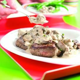 Biefstuk met champignon-pepersaus