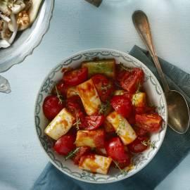 Gestoofde prei en tomaat