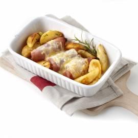 Gevulde hamrolletjes met rozemarijnaardappels