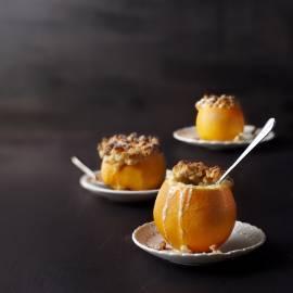 Gevulde sinaasappel met mascarpone en crumble