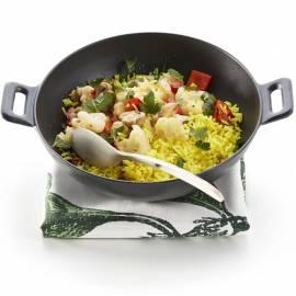 Groentewok met gele rijst