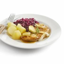Hamlapjes met appel en ui