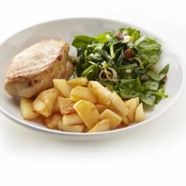 Kipfilet met spinazie, rozijnen en gebakken aardappelpartjes