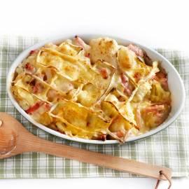 Bloemkoolschotel met ham en kaas