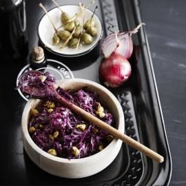 Rodekool met rode ui, kappertjes en kersenbier