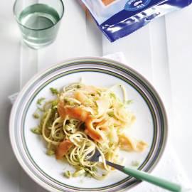 Spaghetti met venkel en gerookte zalm
