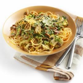 Spaghetti met spinazie en chorizo