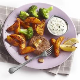 Spicy aardappels met tartaartje en mieriksworteldip