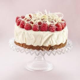 Cheesecake met witte chocolade en frambozen
