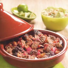 Tajine van rundvlees, pruimen en aubergines