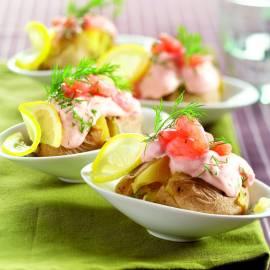 Aardappel gevuld met garnalen