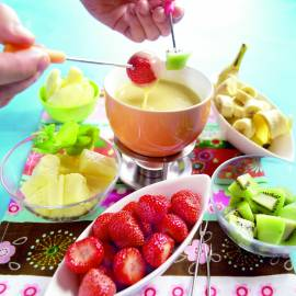Witte chocoladefondue met fruit