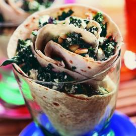 Wrap met spinazie, feta en tomaat