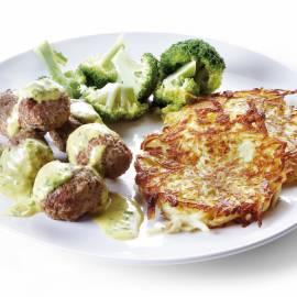 Aardappelkoeken met gehaktballetjes en broccoli