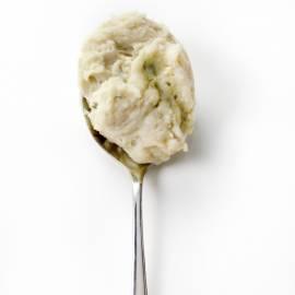 Aardappelpuree met blauwe kaas