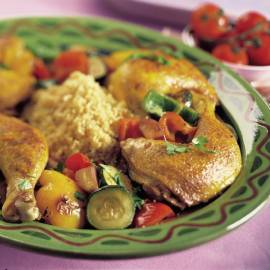 Couscous met geroosterde groenten en kip