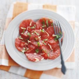 Carpaccio van grapefruit met Thaise dressing