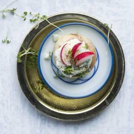 Champignons met blauwe kaas en radijs