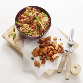 Oosterse knolselderij met gebakken rijst
