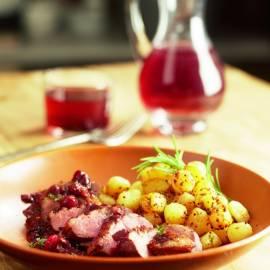Eendenborst met jus van cranberry en rode wijn