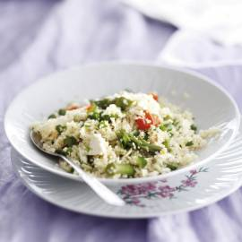 Couscous met groene asperges en feta