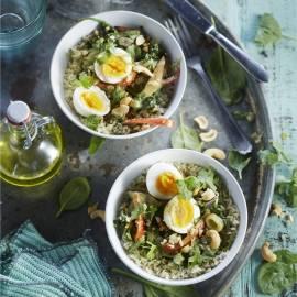 Groene curry met spinazie en ei