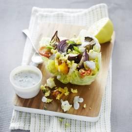 Couscous met gegrilde groenten en frisse yoghurtsaus