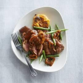 Ribeye met specerijen en gratin van zoete aardappel