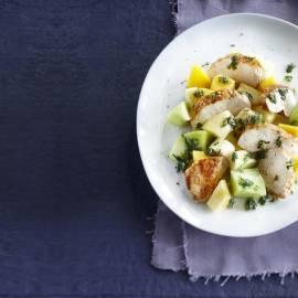 Fruitsalade met kipfilet