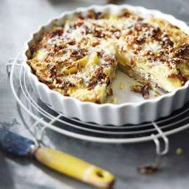 Gegratineerde aardappeltaart met spek