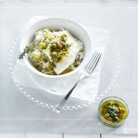 Gepocheerde kabeljauw met peterseliesalsa  en risotto