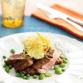 Gegrilde Argentijnse steak met oranjeboter en gefrituurde gember