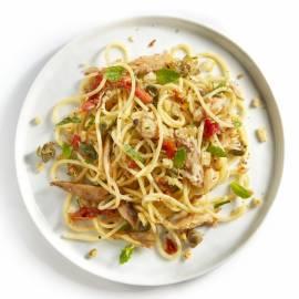 Spaghetti met makreel en munt