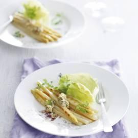 Gegrilde witte asperges met ansjovisboter