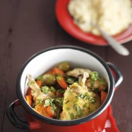Kiptajine met wortel en tuinbonen