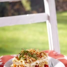 Lasagne met ricotta, venkel en tomaat