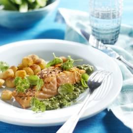 Geroosterde zalm met salsa verde