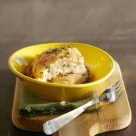 Omelet van eiwit met geitenkaas en bieslook