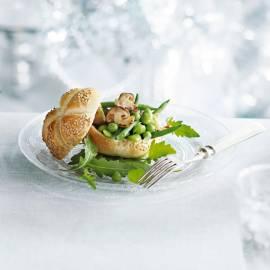 Paddenstoelenbolletje met groene groenten