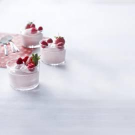 Roze yoghurtmousse