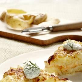 Rösti van gestoomde aardappel en gerookte zalm