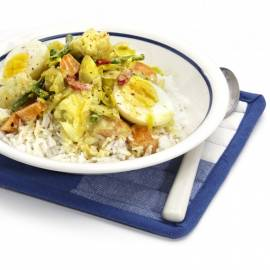 Groentecurry met ei en rijst