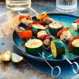 Groentespies met ui, paprika, courgette en champignon