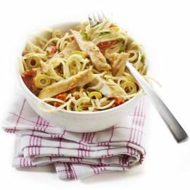 Spaghetti met makreel en olijven