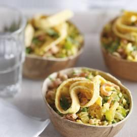 Thaise rijstschotel met garnalen