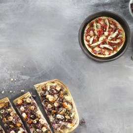 Tortillapizza met kip en salami