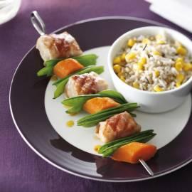 Visbrochette met wilde rijst