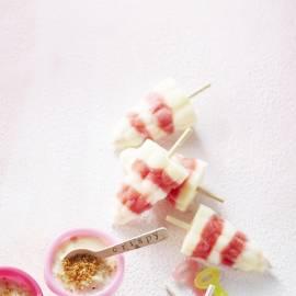 Yoghurtijs aardbei-vanille